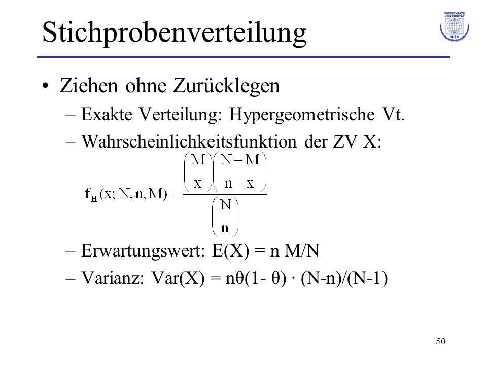 50 Stichprobenverteilung Ziehen ohne Zurücklegen –Exakte Verteilung: Hypergeometrische Vt. –Wahrscheinlichkeitsfunktion der ZV X: –Erwartungswert: E(X