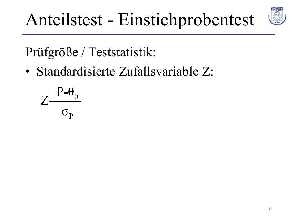 6 Anteilstest - Einstichprobentest Prüfgröße / Teststatistik: Standardisierte Zufallsvariable Z: