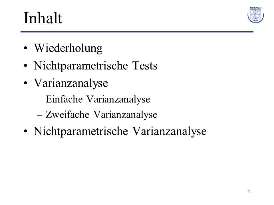3 Wiederholung Statistische Tests (bisher): Verteilungsannahme (Normalverteilung) –Mittelwertstest (t-Test) –Anteilstest –Test der Varianz