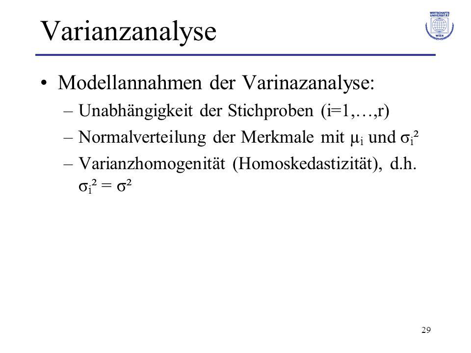 29 Varianzanalyse Modellannahmen der Varinazanalyse: –Unabhängigkeit der Stichproben (i=1,…,r) –Normalverteilung der Merkmale mit µ i und σ i ² –Varia