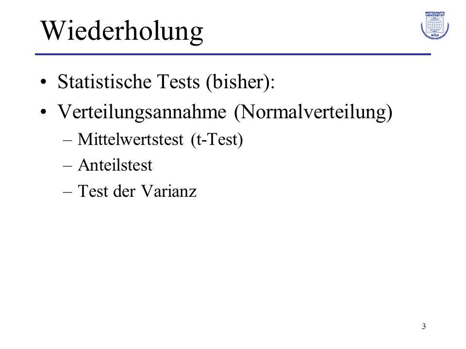 14 Rangtests für Lageparameter Teststatistik: mit c i = 0 falls R̃ i 0 Entscheidung: Vergleich von T + mit kritischen Werten w n,α des Vorzeichenrang- test von Wilcoxon (z.B.