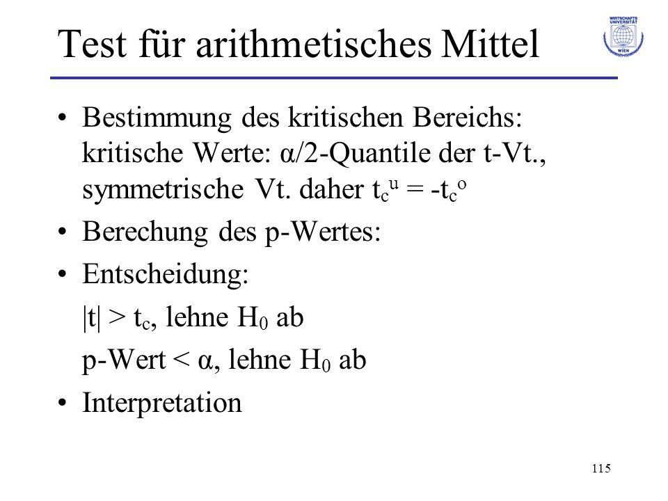 115 Test für arithmetisches Mittel Bestimmung des kritischen Bereichs: kritische Werte: α/2-Quantile der t-Vt., symmetrische Vt. daher t c u = -t c o