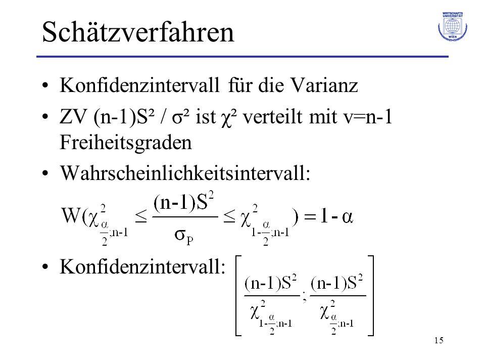 15 Schätzverfahren Konfidenzintervall für die Varianz ZV (n-1)S² / σ² ist χ² verteilt mit v=n-1 Freiheitsgraden Wahrscheinlichkeitsintervall: Konfiden