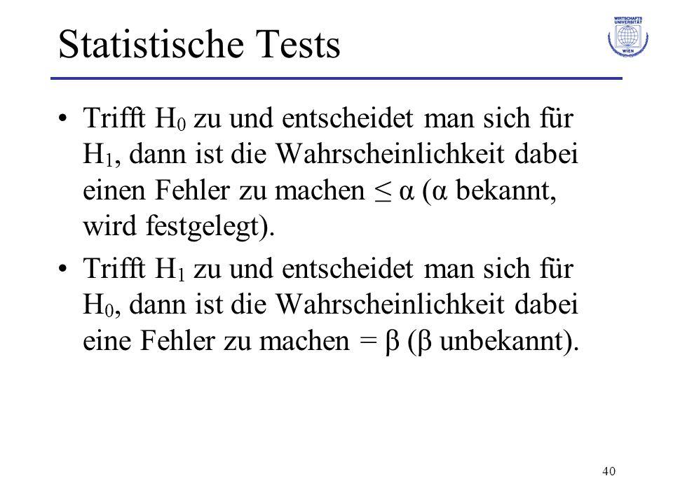 40 Statistische Tests Trifft H 0 zu und entscheidet man sich für H 1, dann ist die Wahrscheinlichkeit dabei einen Fehler zu machen α (α bekannt, wird