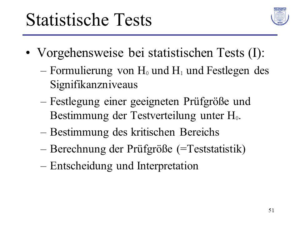 51 Statistische Tests Vorgehensweise bei statistischen Tests (I): –Formulierung von H 0 und H 1 und Festlegen des Signifikanzniveaus –Festlegung einer