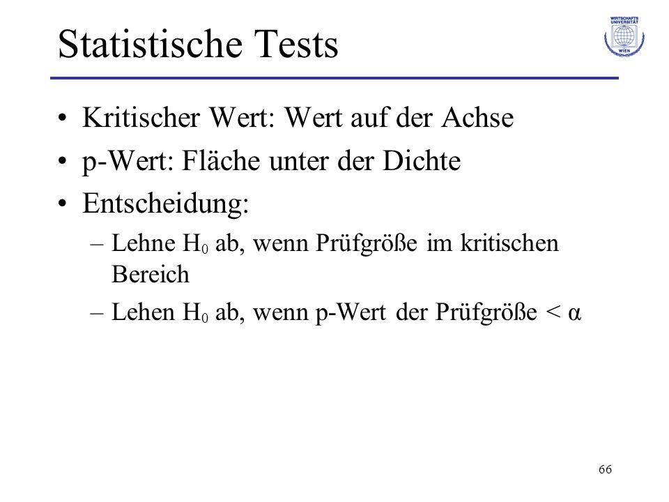 66 Statistische Tests Kritischer Wert: Wert auf der Achse p-Wert: Fläche unter der Dichte Entscheidung: –Lehne H 0 ab, wenn Prüfgröße im kritischen Be