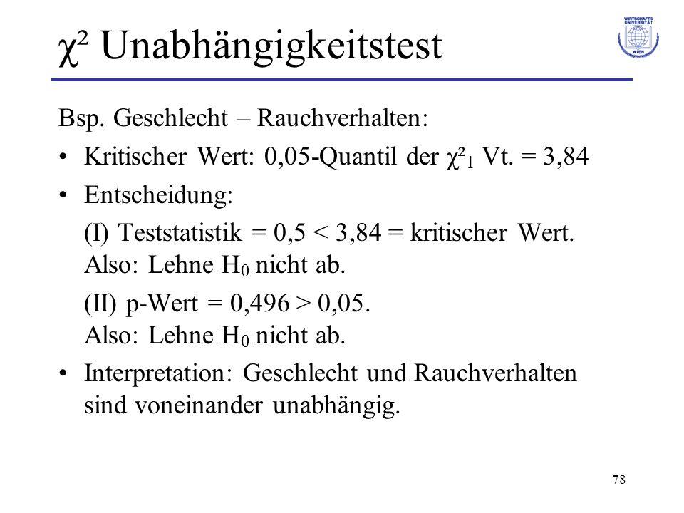 78 χ² Unabhängigkeitstest Bsp. Geschlecht – Rauchverhalten: Kritischer Wert: 0,05-Quantil der χ² 1 Vt. = 3,84 Entscheidung: (I) Teststatistik = 0,5 <