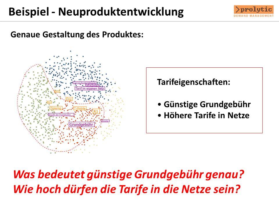 Beispiel - Neuproduktentwicklung Genaue Gestaltung des Produktes: Tarifeigenschaften: Günstige Grundgebühr Höhere Tarife in Netze Was bedeutet günstig