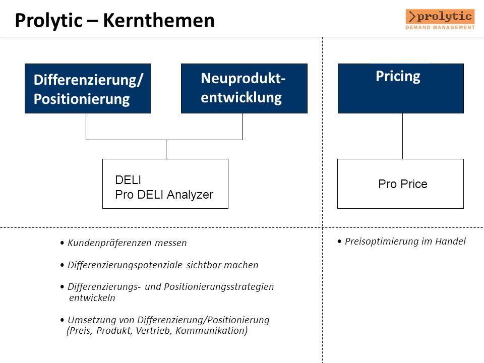 Differenzierung/ Positionierung Neuprodukt- entwicklung Pricing DELI Pro DELI Analyzer Pro Price Kundenpräferenzen messen Differenzierungspotenziale s