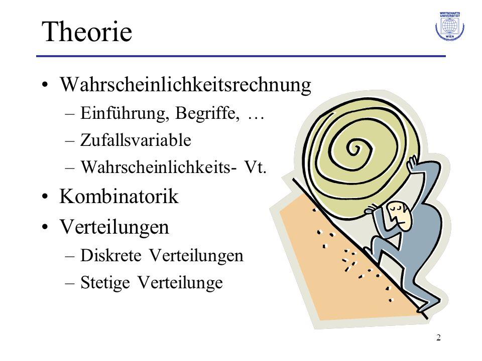 2 Theorie Wahrscheinlichkeitsrechnung –Einführung, Begriffe, … –Zufallsvariable –Wahrscheinlichkeits- Vt. Kombinatorik Verteilungen –Diskrete Verteilu