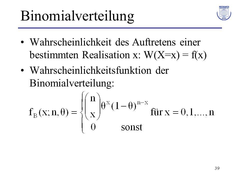 39 Binomialverteilung Wahrscheinlichkeit des Auftretens einer bestimmten Realisation x: W(X=x) = f(x) Wahrscheinlichkeitsfunktion der Binomialverteilu