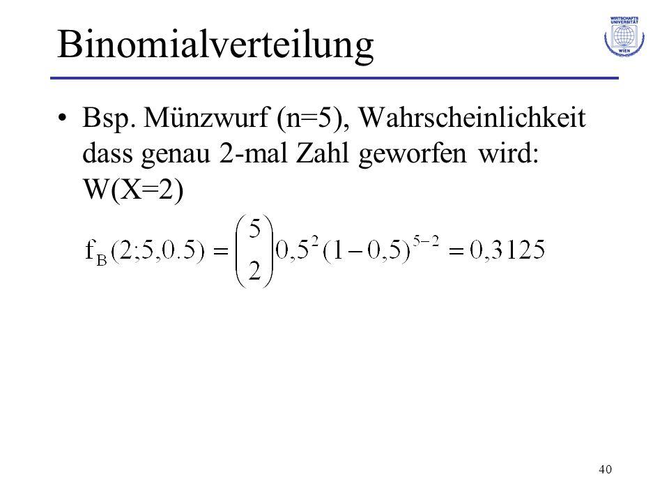 40 Binomialverteilung Bsp. Münzwurf (n=5), Wahrscheinlichkeit dass genau 2-mal Zahl geworfen wird: W(X=2)