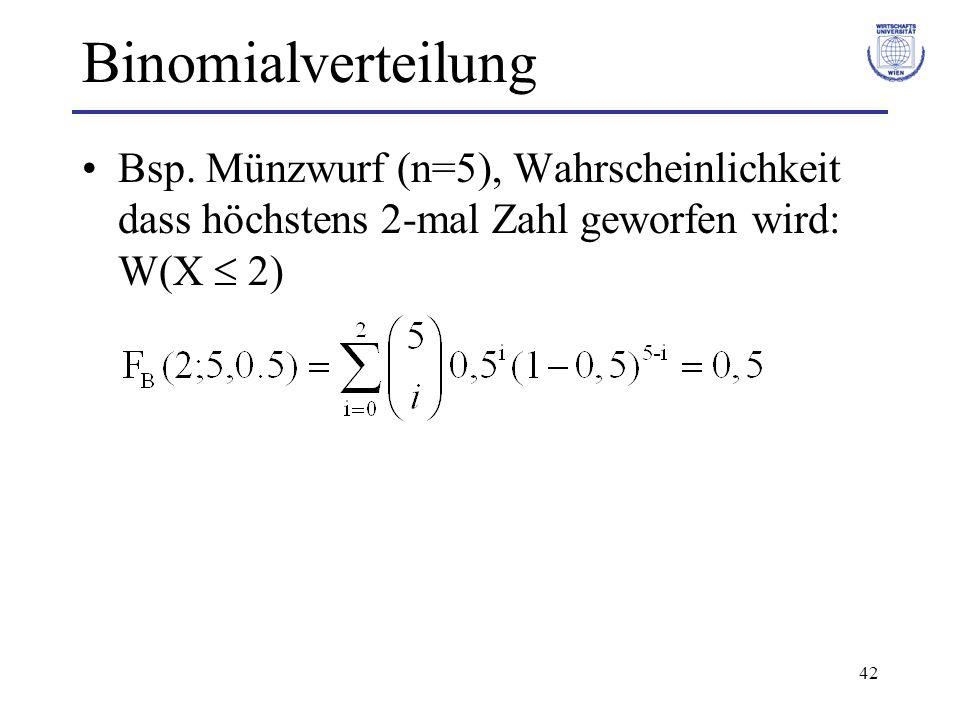 42 Binomialverteilung Bsp. Münzwurf (n=5), Wahrscheinlichkeit dass höchstens 2-mal Zahl geworfen wird: W(X 2)