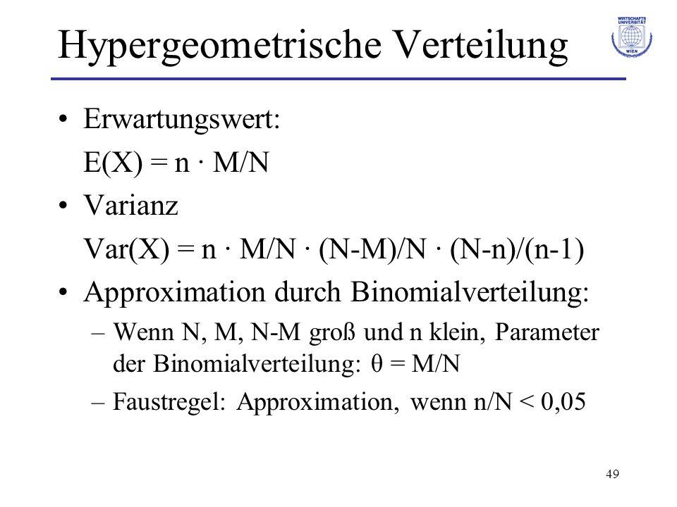 49 Hypergeometrische Verteilung Erwartungswert: E(X) = n · M/N Varianz Var(X) = n · M/N · (N-M)/N · (N-n)/(n-1) Approximation durch Binomialverteilung