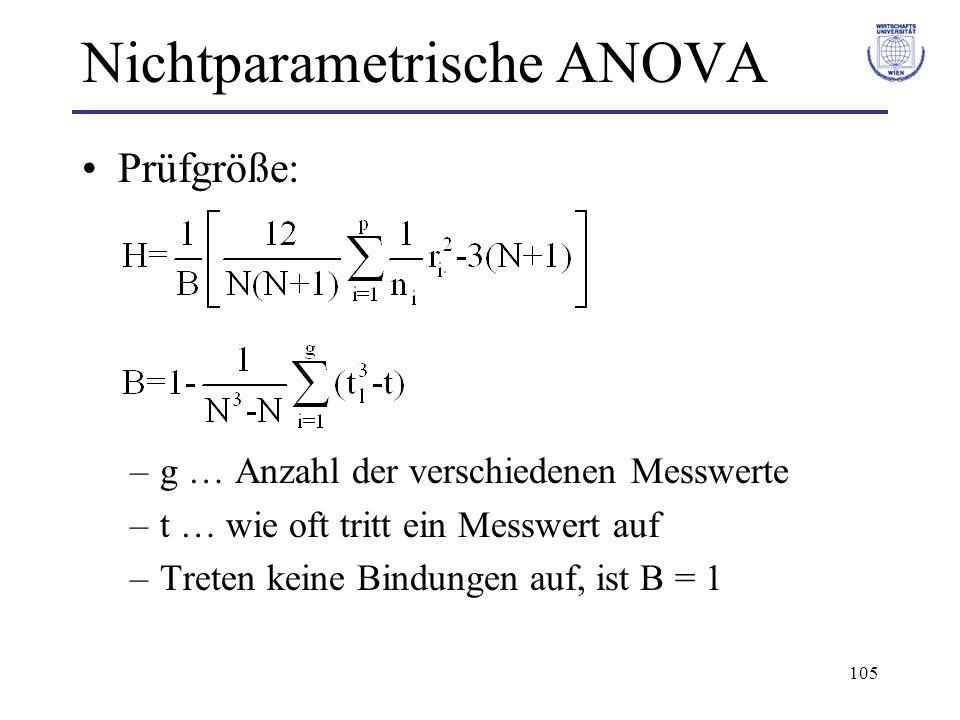 105 Nichtparametrische ANOVA Prüfgröße: –g … Anzahl der verschiedenen Messwerte –t … wie oft tritt ein Messwert auf –Treten keine Bindungen auf, ist B