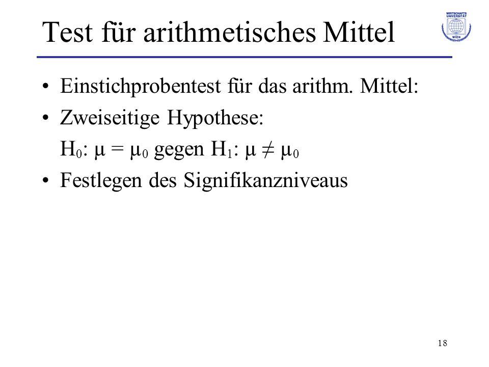 18 Test für arithmetisches Mittel Einstichprobentest für das arithm. Mittel: Zweiseitige Hypothese: H 0 : µ = µ 0 gegen H 1 : µ µ 0 Festlegen des Sign