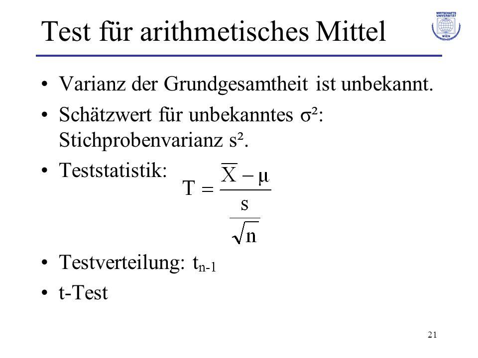 21 Test für arithmetisches Mittel Varianz der Grundgesamtheit ist unbekannt. Schätzwert für unbekanntes σ²: Stichprobenvarianz s². Teststatistik: Test