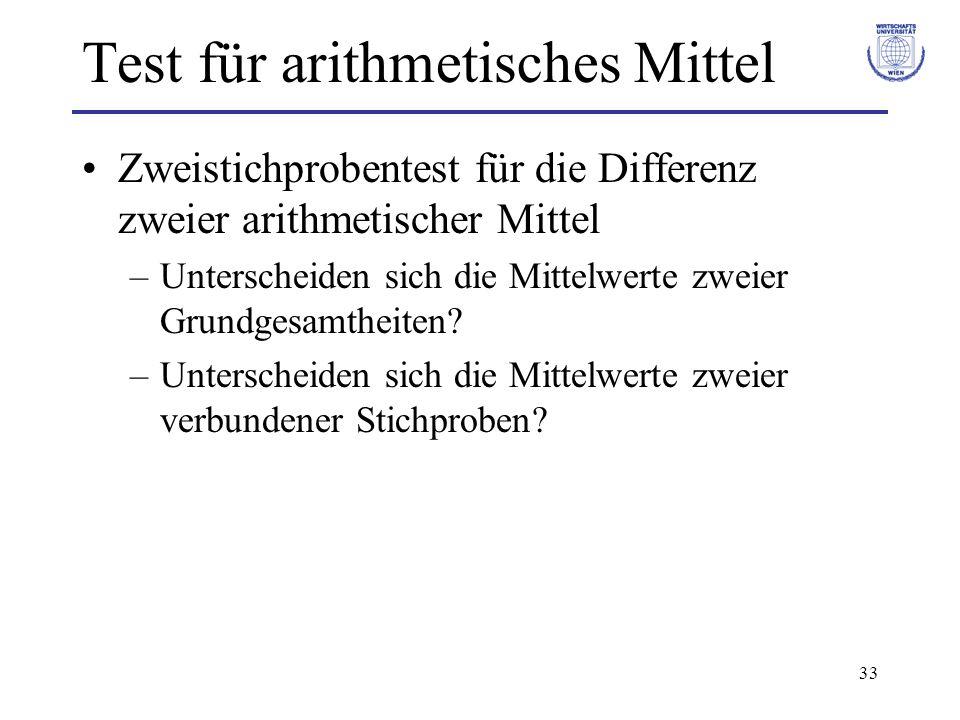 33 Test für arithmetisches Mittel Zweistichprobentest für die Differenz zweier arithmetischer Mittel –Unterscheiden sich die Mittelwerte zweier Grundg
