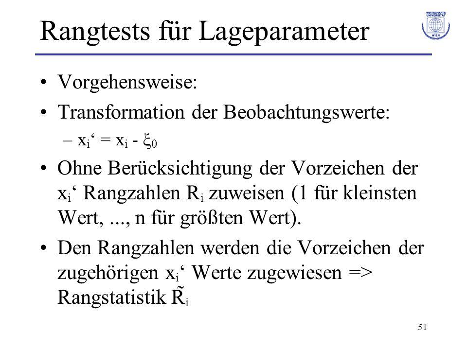 51 Rangtests für Lageparameter Vorgehensweise: Transformation der Beobachtungswerte: –x i = x i - ξ 0 Ohne Berücksichtigung der Vorzeichen der x i Ran