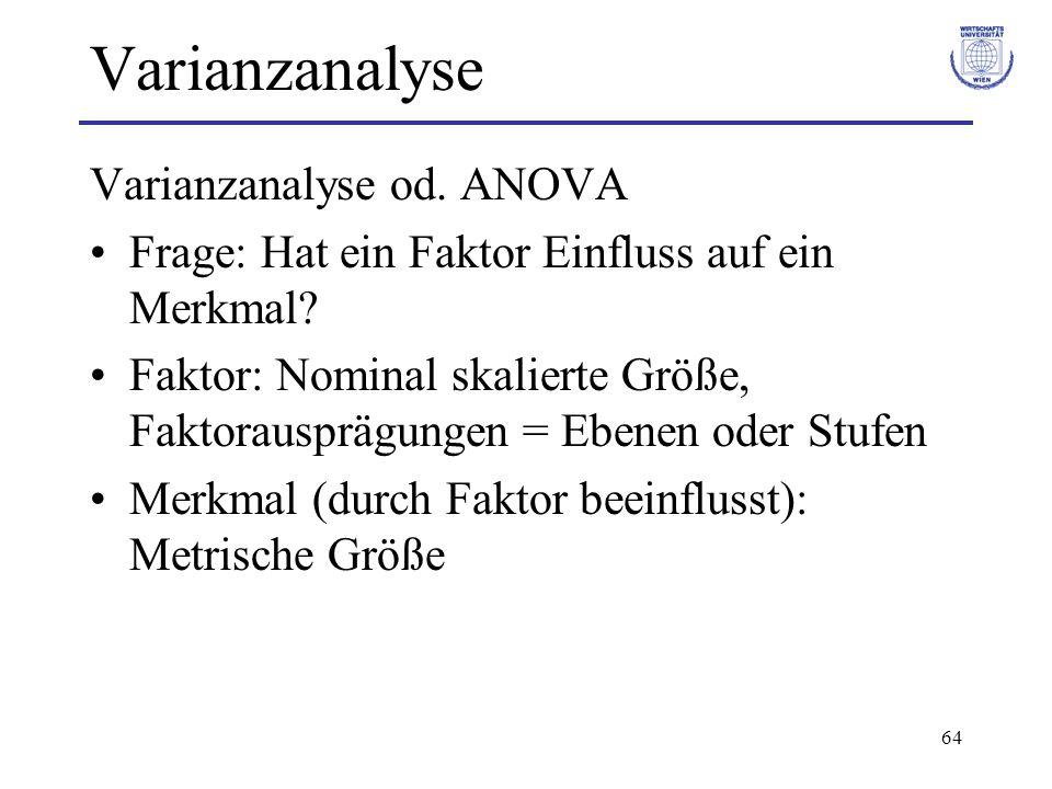 64 Varianzanalyse Varianzanalyse od. ANOVA Frage: Hat ein Faktor Einfluss auf ein Merkmal? Faktor: Nominal skalierte Größe, Faktorausprägungen = Ebene