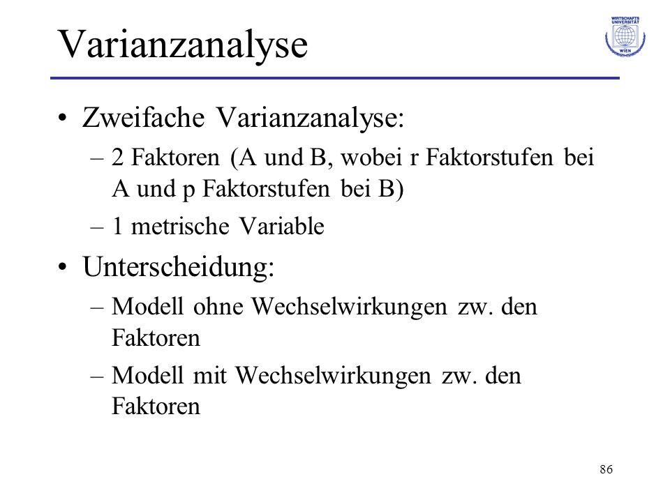 86 Varianzanalyse Zweifache Varianzanalyse: –2 Faktoren (A und B, wobei r Faktorstufen bei A und p Faktorstufen bei B) –1 metrische Variable Untersche