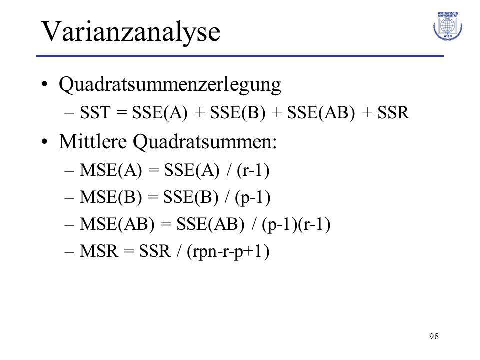 98 Varianzanalyse Quadratsummenzerlegung –SST = SSE(A) + SSE(B) + SSE(AB) + SSR Mittlere Quadratsummen: –MSE(A) = SSE(A) / (r-1) –MSE(B) = SSE(B) / (p