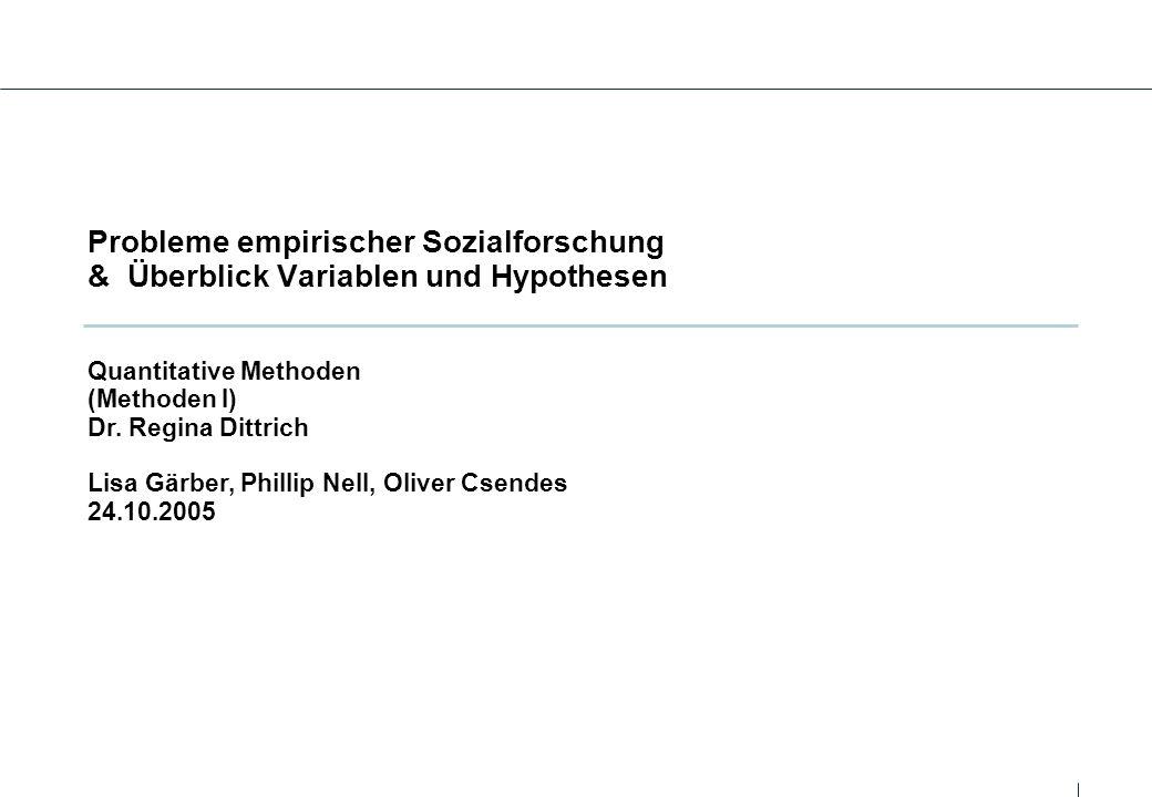 Probleme empirischer Sozialforschung & Überblick Variablen und Hypothesen Quantitative Methoden (Methoden I) Dr. Regina Dittrich Lisa Gärber, Phillip