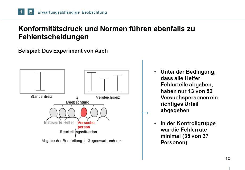 10 Konformitätsdruck und Normen führen ebenfalls zu Fehlentscheidungen 1 Beispiel: Das Experiment von Asch B Erwartungsabhängige Beobachtung Unter der