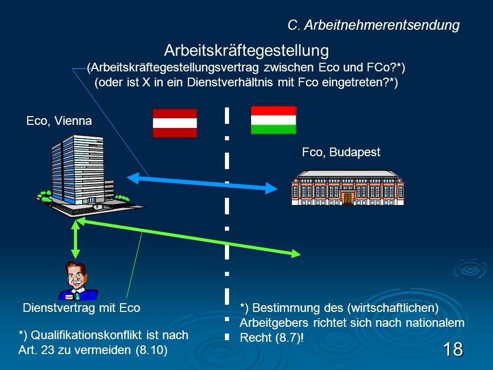 18 Eco, Vienna Fco, Budapest Dienstvertrag mit Eco Arbeitskräftegestellung (Arbeitskräftegestellungsvertrag zwischen Eco und FCo?*) (oder ist X in ein