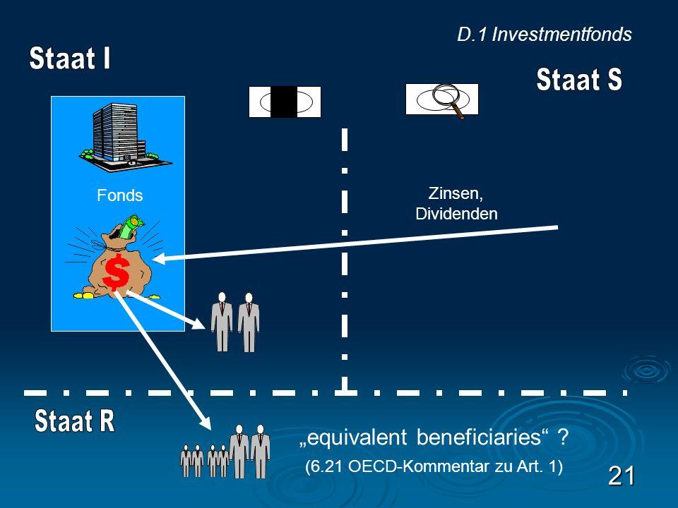21 Fonds Zinsen, Dividenden D.1 Investmentfonds equivalent beneficiaries ? (6.21 OECD-Kommentar zu Art. 1)