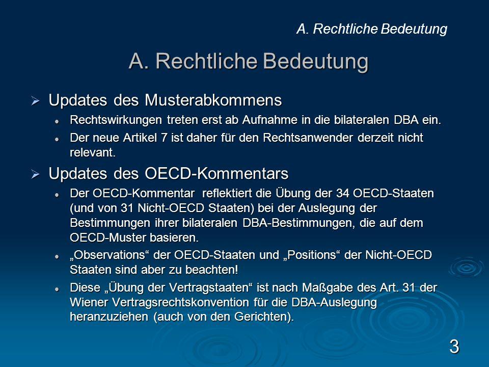 A. Rechtliche Bedeutung Updates des Musterabkommens Updates des Musterabkommens Rechtswirkungen treten erst ab Aufnahme in die bilateralen DBA ein. Re