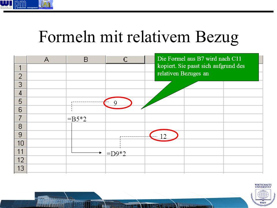 Formeln mit relativem Bezug 9 =D9*2 12 =B5*2 Die Formel aus B7 wird nach C11 kopiert. Sie passt sich aufgrund des relativen Bezuges an