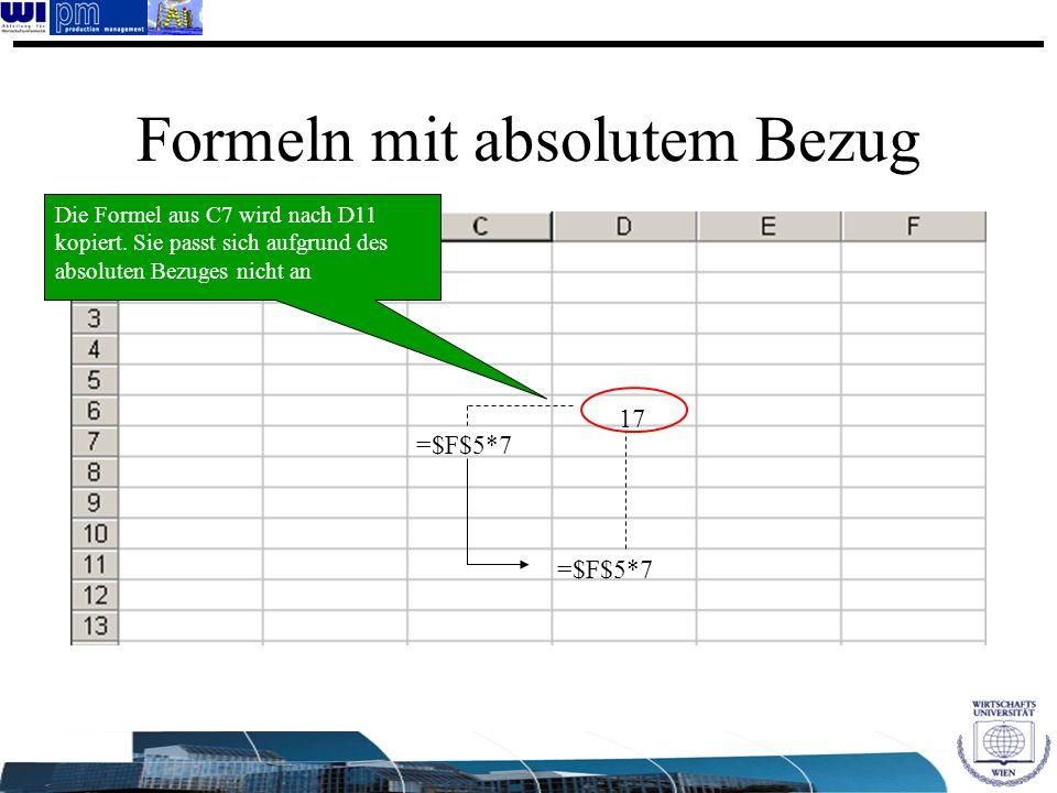 Formeln mit absolutem Bezug =$F$5*7 17 Die Formel aus C7 wird nach D11 kopiert. Sie passt sich aufgrund des absoluten Bezuges nicht an