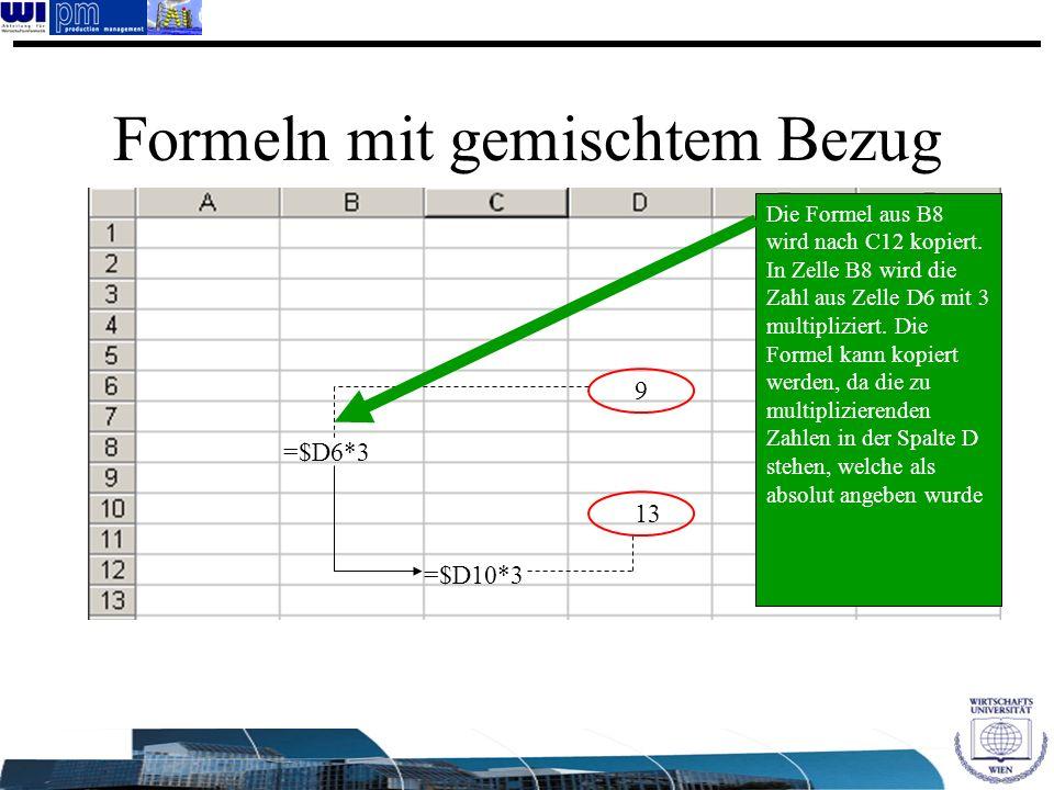 Formeln mit gemischtem Bezug 13 9 =$D10*3 =$D6*3 Die Formel aus B8 wird nach C12 kopiert. In Zelle B8 wird die Zahl aus Zelle D6 mit 3 multipliziert.