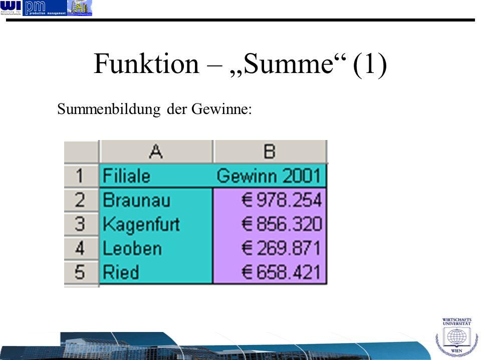Funktion – Summe (1) Summenbildung der Gewinne: