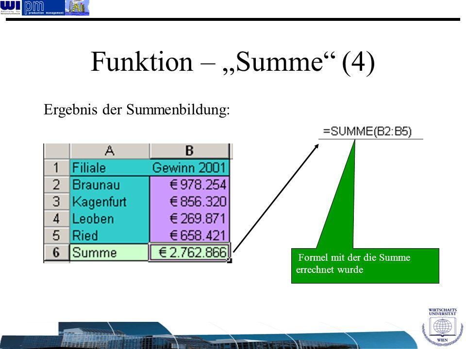 Funktion – Summe (4) Ergebnis der Summenbildung: Formel mit der die Summe errechnet wurde