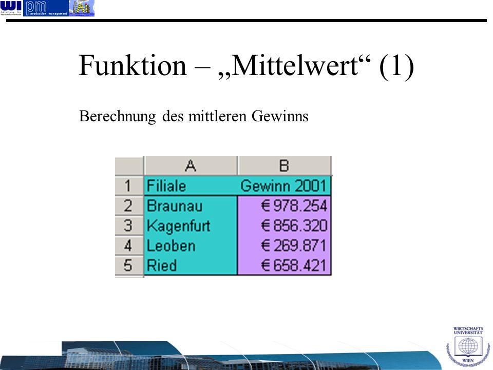 Funktion – Mittelwert (1) Berechnung des mittleren Gewinns