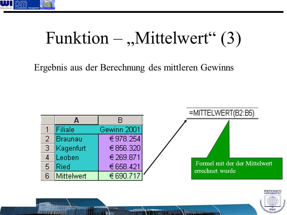 Funktion – Mittelwert (3) Ergebnis aus der Berechnung des mittleren Gewinns Formel mit der der Mittelwert errechnet wurde