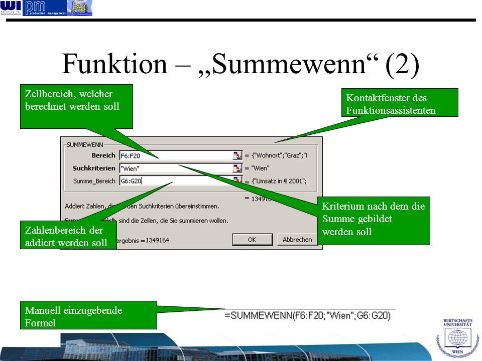 Zellbereich, welcher berechnet werden soll Funktion – Summewenn (2) Kriterium nach dem die Summe gebildet werden soll Zahlenbereich der addiert werden