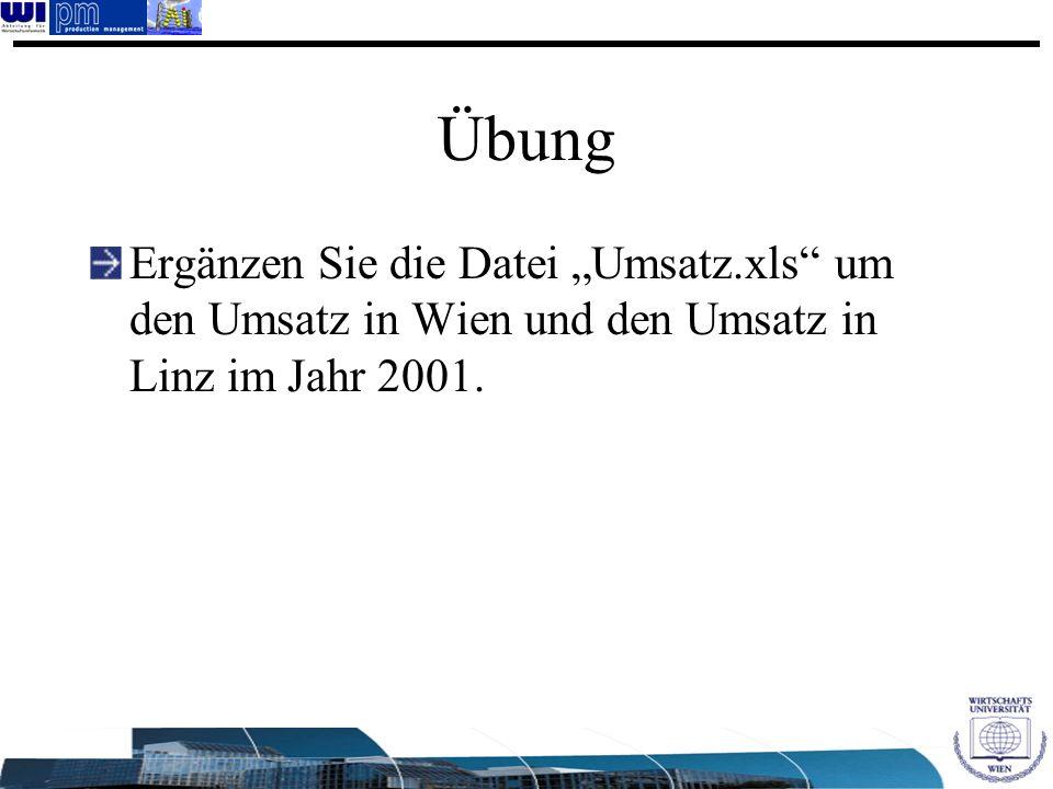 Übung Ergänzen Sie die Datei Umsatz.xls um den Umsatz in Wien und den Umsatz in Linz im Jahr 2001.