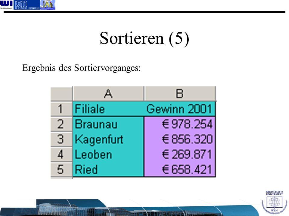 Sortieren (5) Ergebnis des Sortiervorganges: