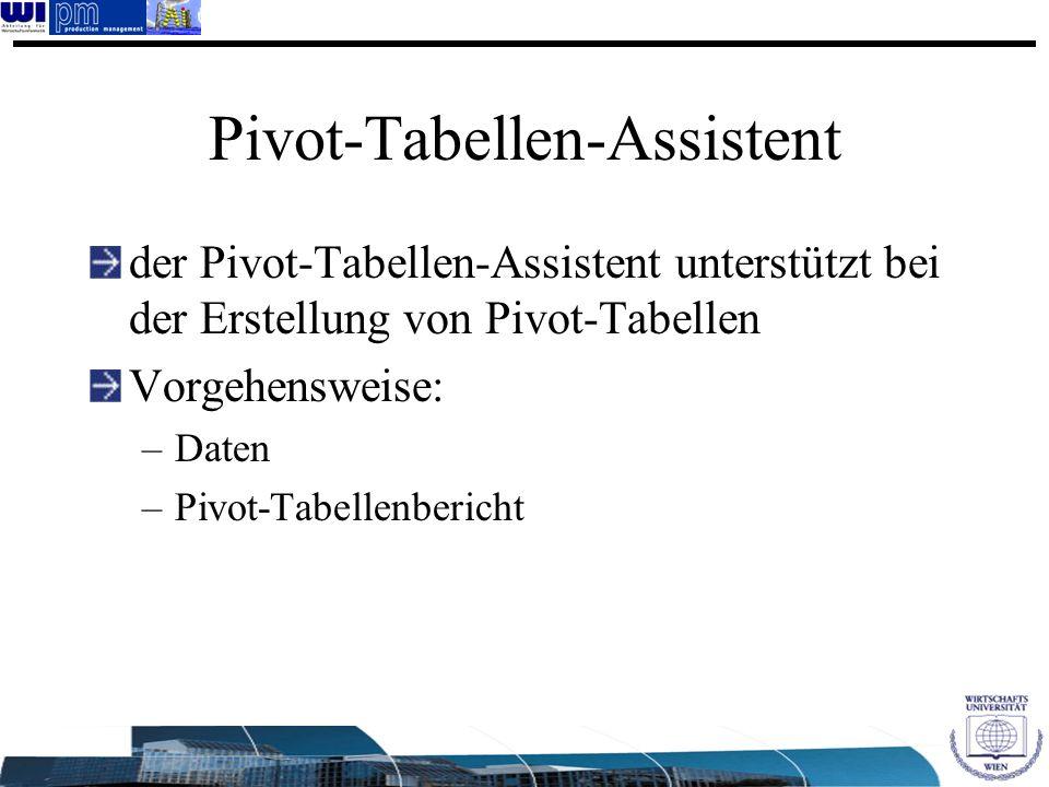 Pivot-Tabellen-Assistent der Pivot-Tabellen-Assistent unterstützt bei der Erstellung von Pivot-Tabellen Vorgehensweise: –Daten –Pivot-Tabellenbericht