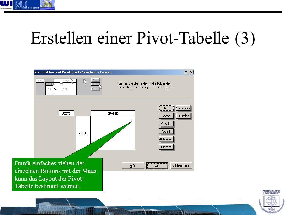 Erstellen einer Pivot-Tabelle (3) Durch einfaches ziehen der einzelnen Buttons mit der Maus kann das Layout der Pivot- Tabelle bestimmt werden