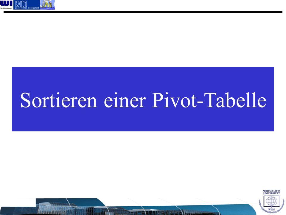 Sortieren einer Pivot-Tabelle