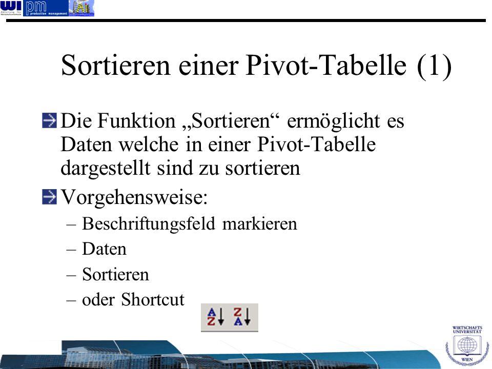 Sortieren einer Pivot-Tabelle (1) Die Funktion Sortieren ermöglicht es Daten welche in einer Pivot-Tabelle dargestellt sind zu sortieren Vorgehensweis