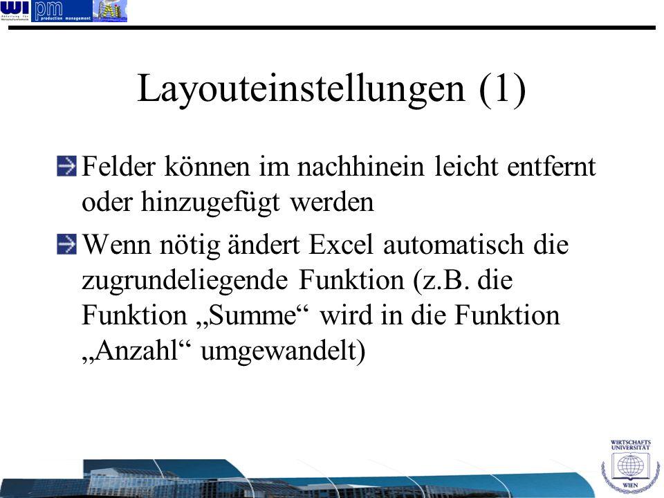 Layouteinstellungen (1) Felder können im nachhinein leicht entfernt oder hinzugefügt werden Wenn nötig ändert Excel automatisch die zugrundeliegende F
