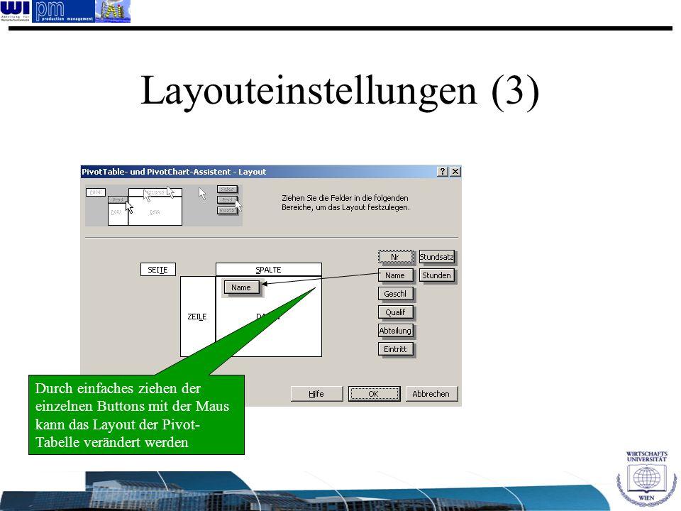 Layouteinstellungen (3) Durch einfaches ziehen der einzelnen Buttons mit der Maus kann das Layout der Pivot- Tabelle verändert werden