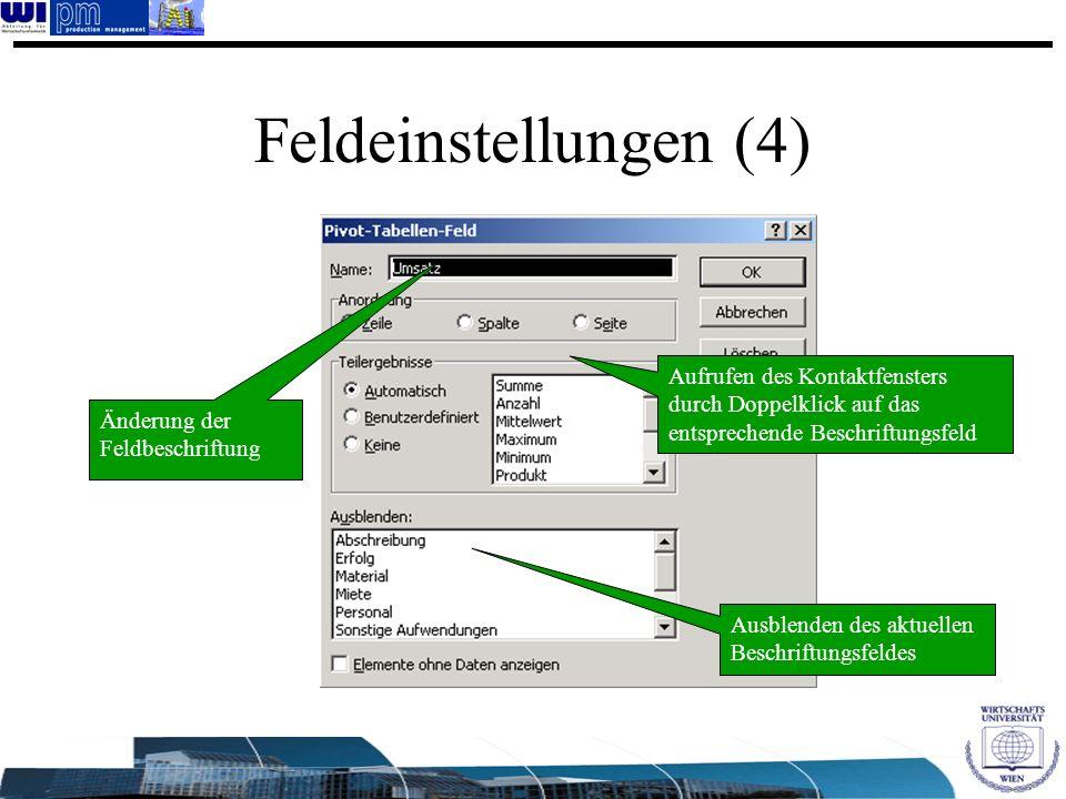 Feldeinstellungen (4) Ausblenden des aktuellen Beschriftungsfeldes Änderung der Feldbeschriftung Aufrufen des Kontaktfensters durch Doppelklick auf da