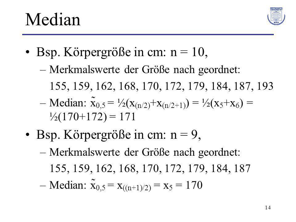 14 Median Bsp. Körpergröße in cm: n = 10, –Merkmalswerte der Größe nach geordnet: 155, 159, 162, 168, 170, 172, 179, 184, 187, 193 –Median: x̃ 0,5 = ½