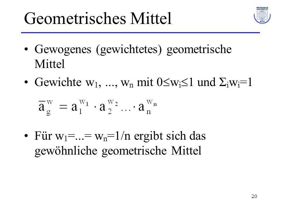20 Geometrisches Mittel Gewogenes (gewichtetes) geometrische Mittel Gewichte w 1,..., w n mit 0 w i 1 und Σ i w i =1 Für w 1 =...= w n =1/n ergibt sic